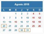 Calendario Contribuyente. AGOSTO 2018