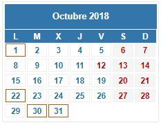 Calendario Contribuyente. OCTUBRE 2018