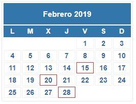 Aeat Calendario Del Contribuyente 2019.Calendario Contribuyente Febrero 2019 Cepyme Aragon