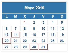 Calendario Contribuyente. MAYO 2019
