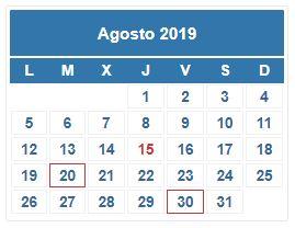 Calendario Contribuyente. AGOSTO 2019