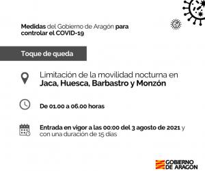 Toque de queda en Huesca, Jaca, Monzón y Barbastro